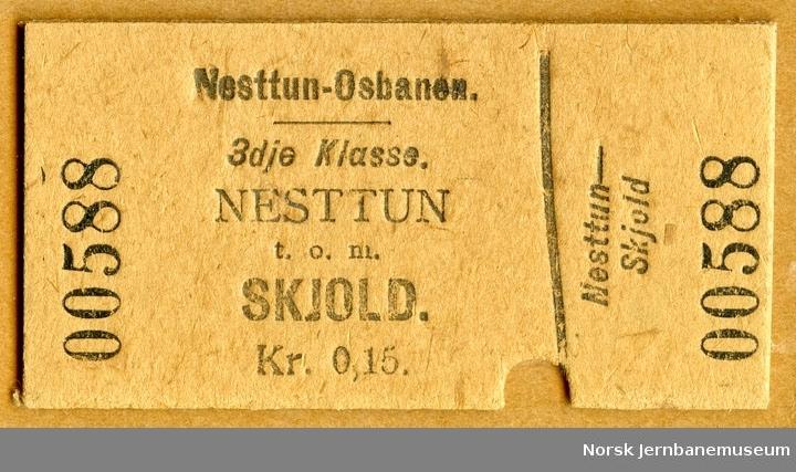 Billett Nesttun-Skjold, 3. klasse, brukt, ca 1912
