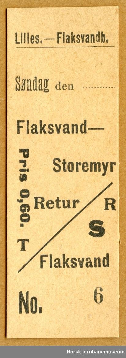 Tur/returbillett Flaksvand-Storemyr