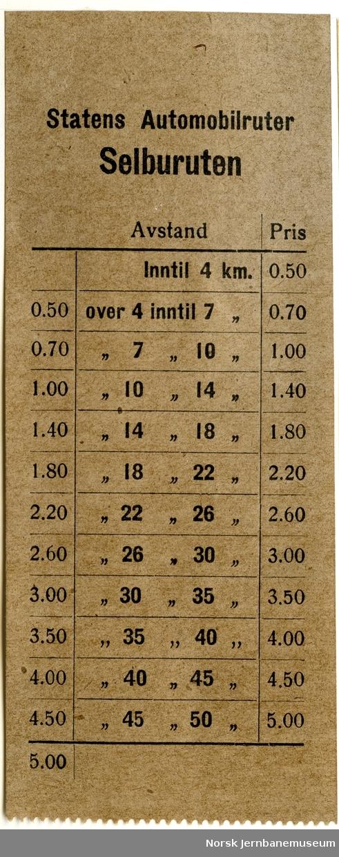 Billett Statens Automobilruter, Selburuten