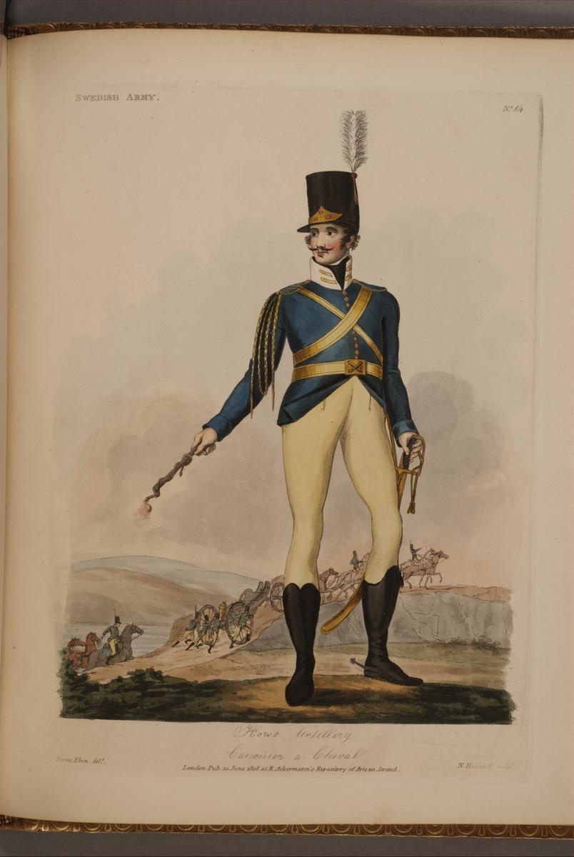 Plansch med uniform för beridet artilleri, ritad av Frederic Eben i boken The Swedish Army, utgiven 1808.