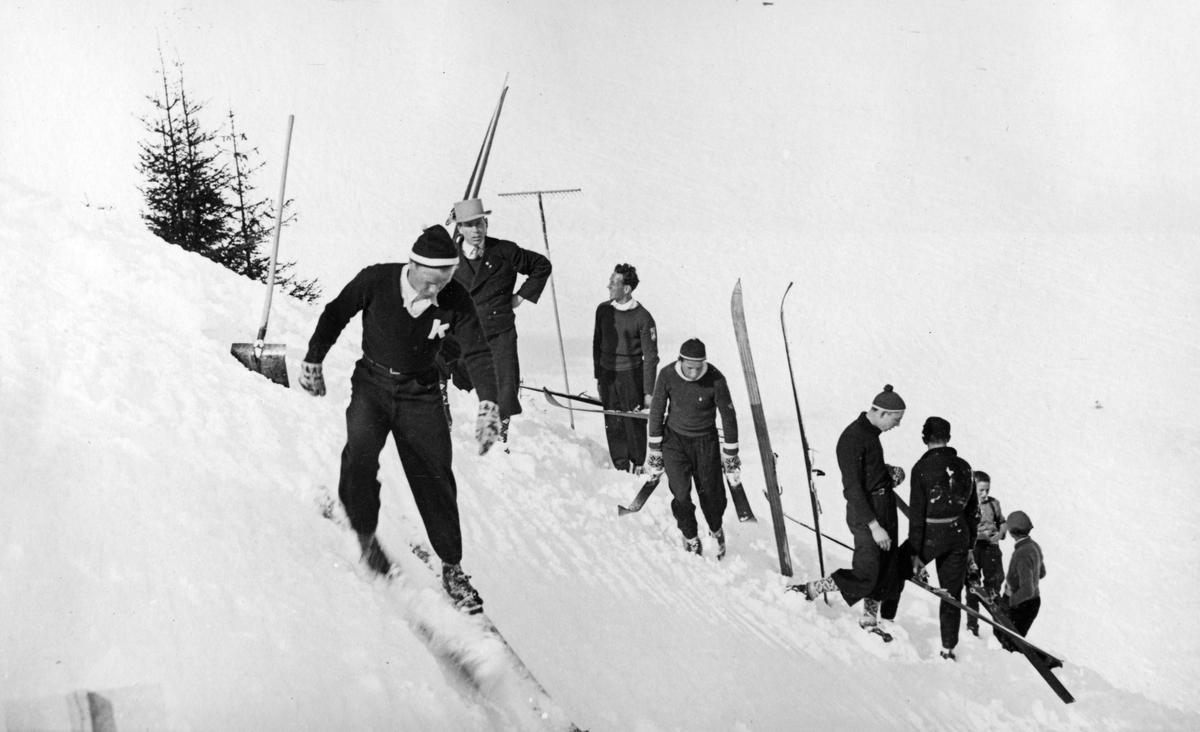 Kongsberg skier Sigmund Ruud preparing a jump in Spain