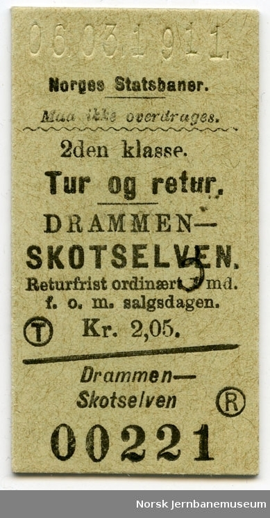 Tur/returbillett Drammen-Skotselven, 2. kl.