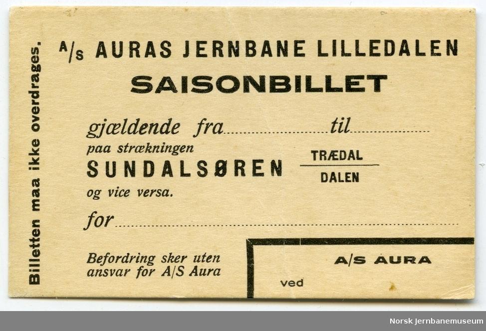 A/S Auras jernbane Lilledalen - Saisonbillet  - Sundalsøren-Trædal/Dalen