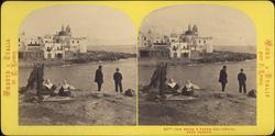 Stereobild av två män och två kvinnor invid vattnet, Torre d