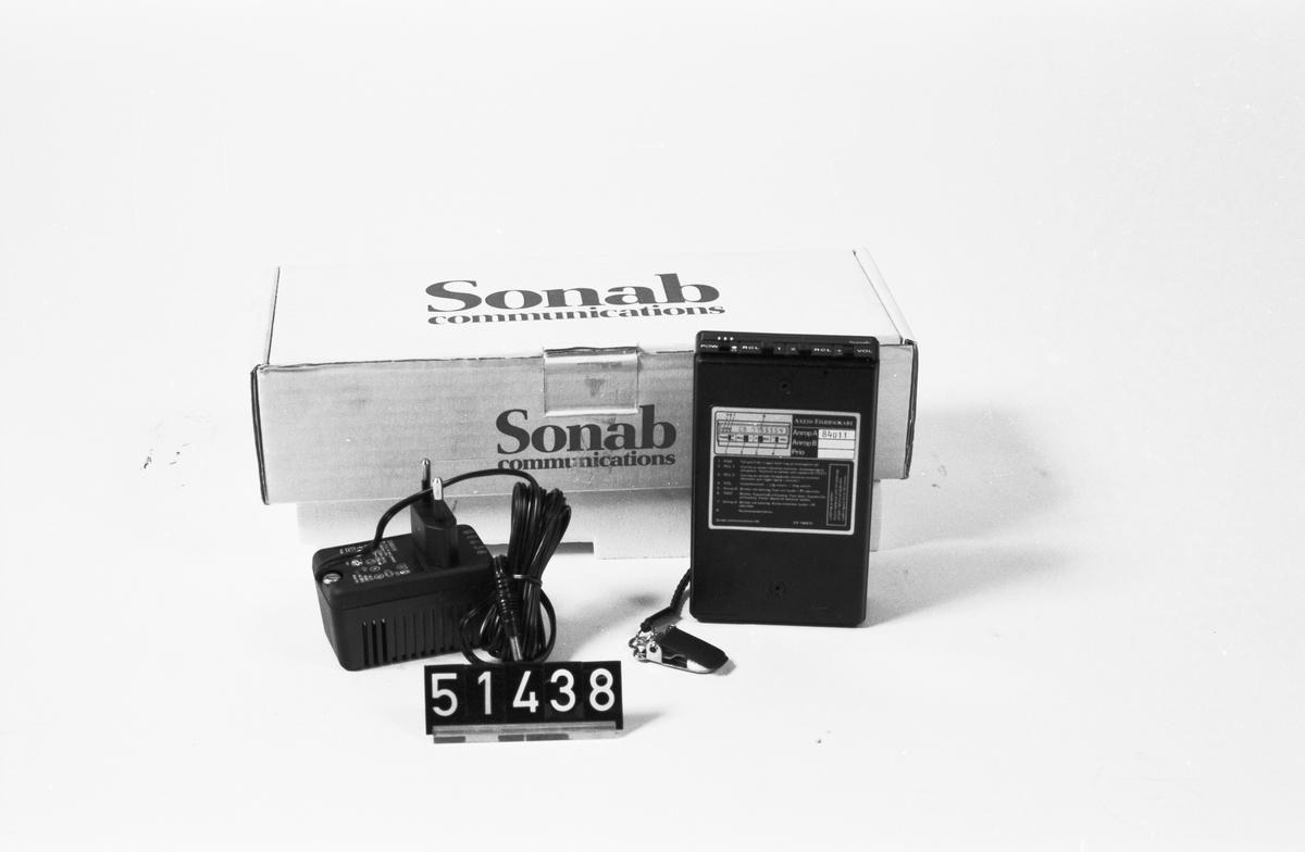 Personsökare med nummerpresentation och laddningsaggregat, i originalkartong. Anrop A 84011, MBS-system.
