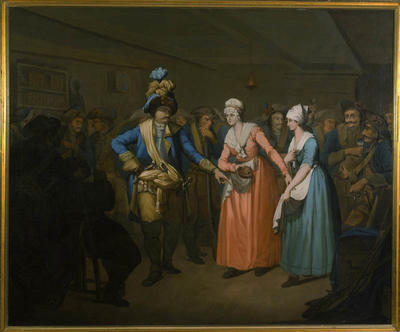 Et maleri som viser en oberst i samtale med to damer. Mange soldater står i bakgrunnen.