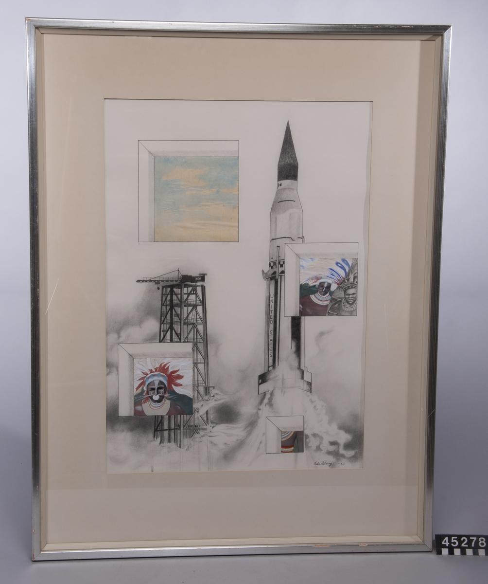 """Konstverk av Nobu Ota Hilding, föreställande en rymdraket vid startrampen, motivet i blyerts är genombrutet av """"öppningar"""" med indianliknande gestalter och en lätt molnbeslöjad himmel, de senare i akvarell/blyerts."""