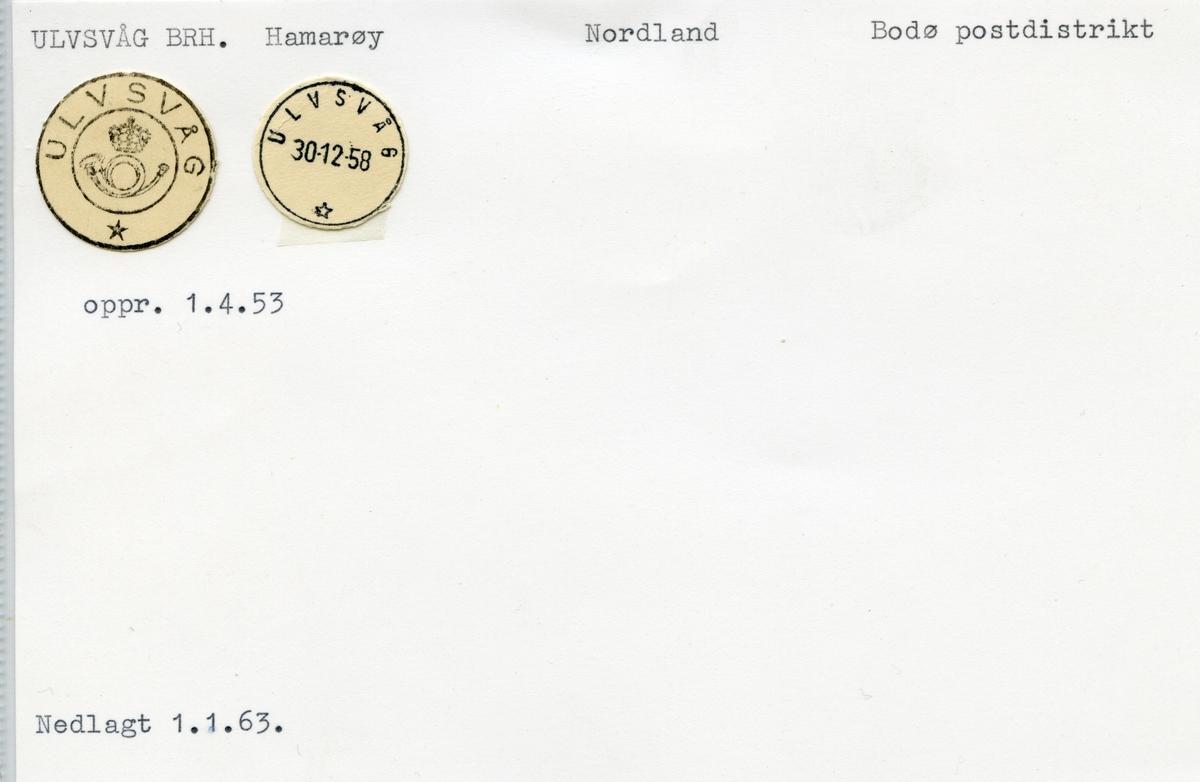 Stempelkatalog 8276 Ulvsvåg (Sørkil), Bodø, Hamarøy, Nordland