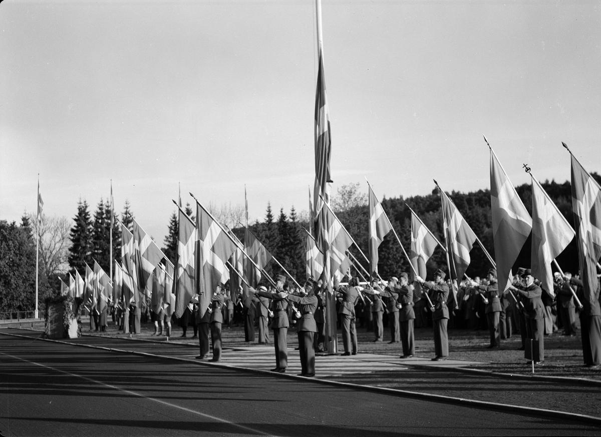 Nationaldagsfirande på Studenternas Idrottsplats, Uppsala 1940