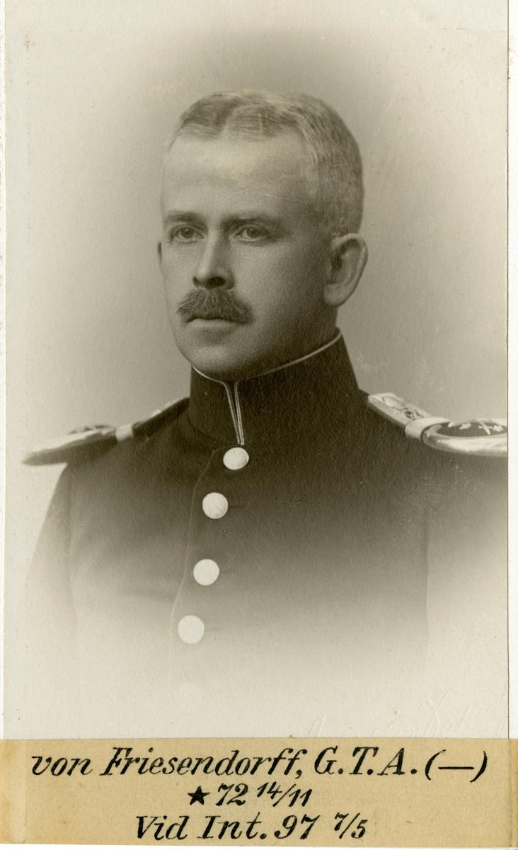 Porträtt av Gustaf Fredrik August von Friesendroff, underintendent vid Intendenturkåren.