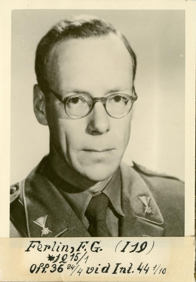 Porträtt av Thore Gustaf Ferlin, officer vid Norrbottens regemente I 19 och Intendenturkåren.