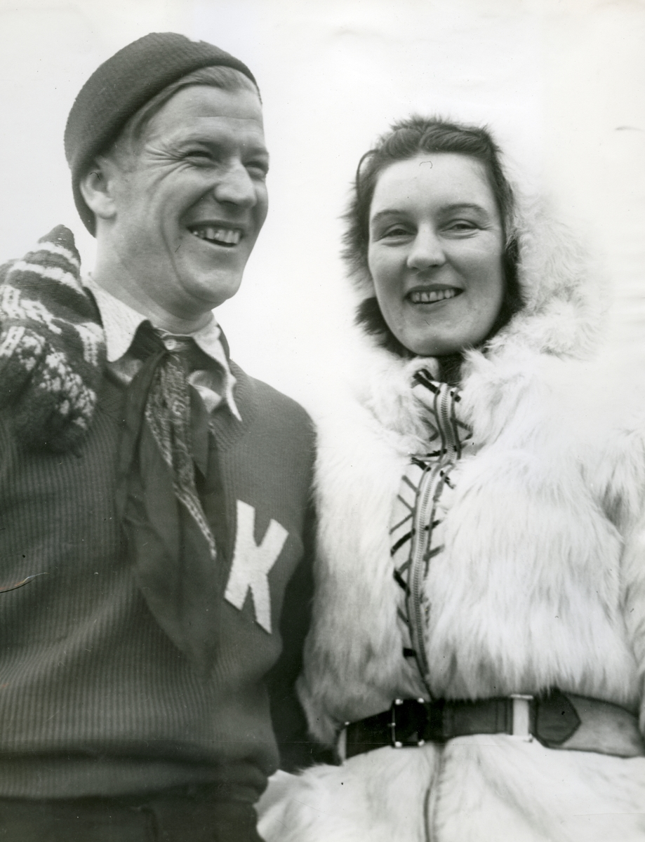 Kongsberg athlete Birger Ruud with woman