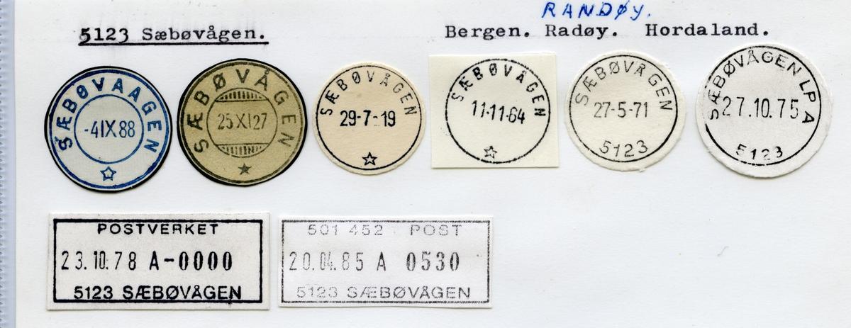 Stempelkatalog  5123 Sæbøvågen, Radøy kommune, Hordaland