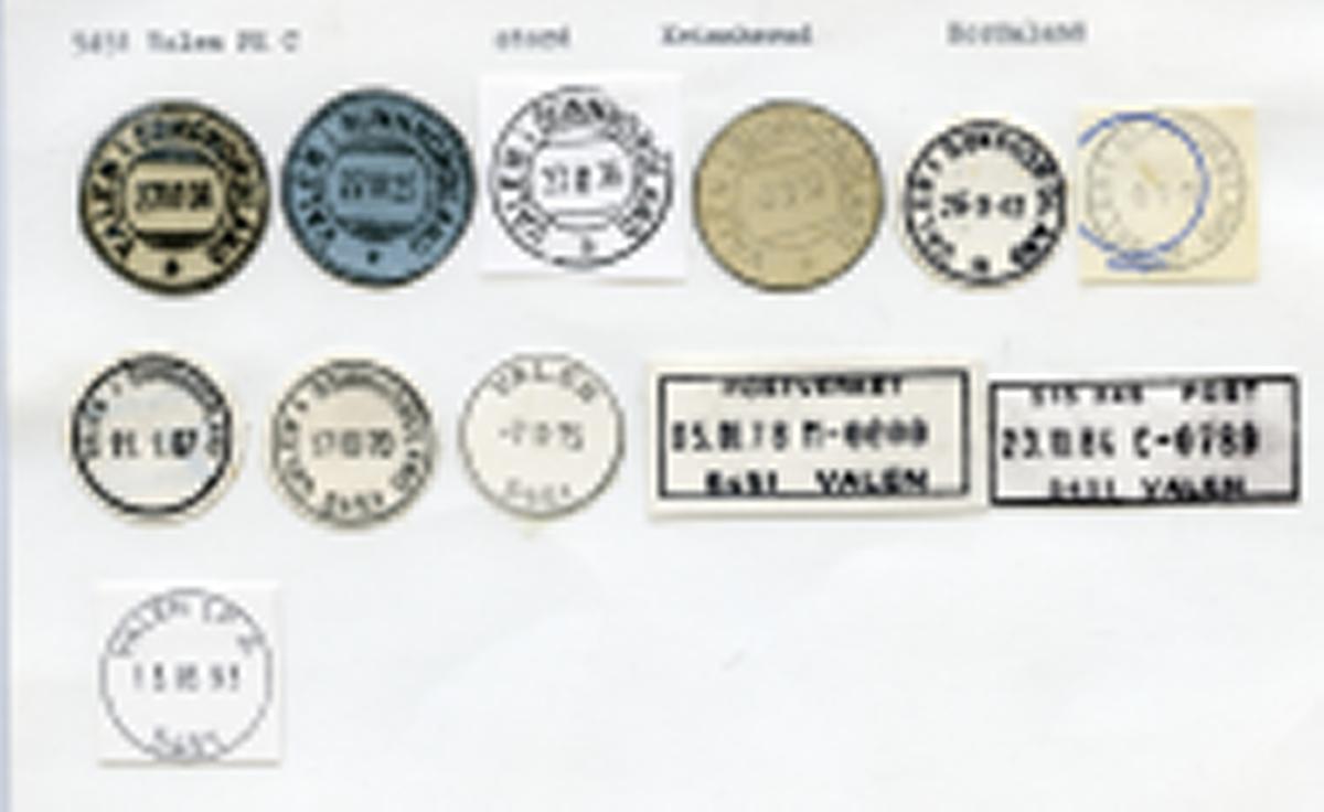 Stempelkatalog 5451 Valen (Valen i Søndhordland, Valen i Sunnhordland)Stord, Kvinnherad, Hordaland
