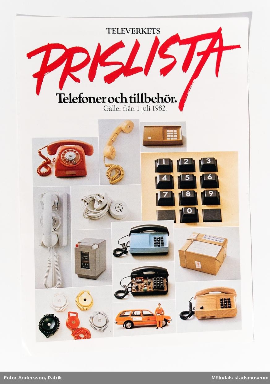 """Reklamblad: """"TELEVERKETS PRISLISTA Telefoner och tillbehör. Gäller från 1 juli 1982."""", utgivet av Televerket 1982."""