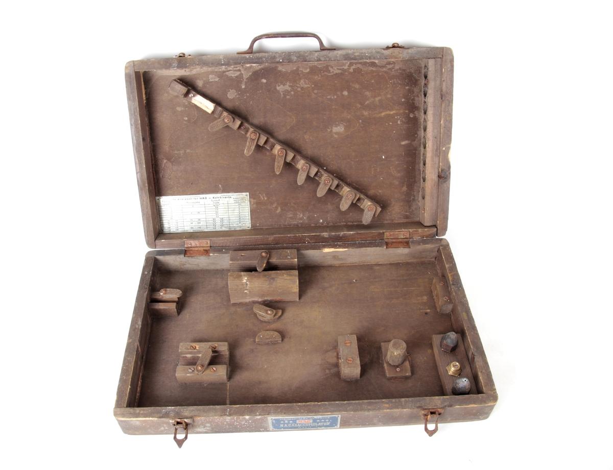 Kasse til oppbevaring av utstyr til autogensveising.