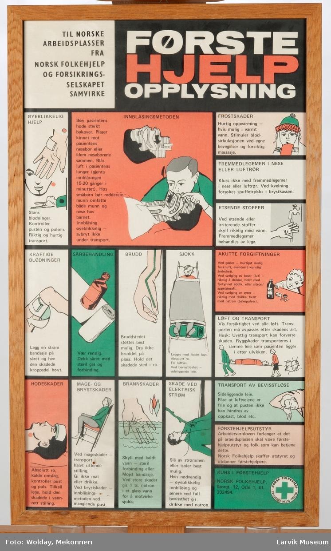 treramme m/ glass og oppheng tegninger og tekst om førstehjelpsbehandling utgitt av Norsk Folkehjelp