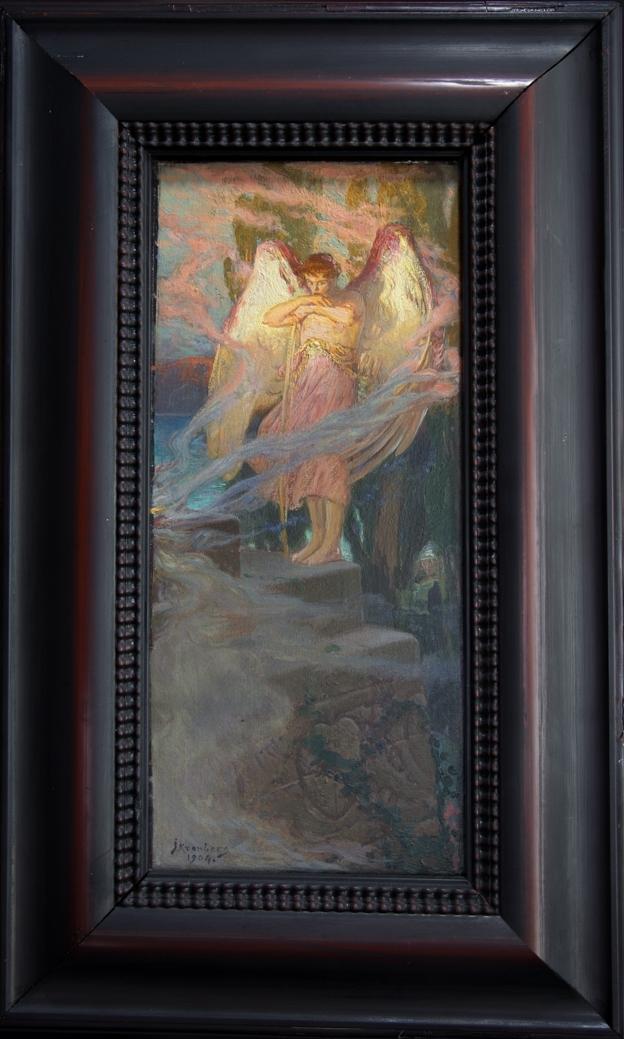 Eros stående i helfigur på en trappavsats med ufällda vingar. Han stödjer sig med korslagda armar mot en pilbåge. Omgiven av rökslingor.
