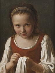Flicka med handarbete