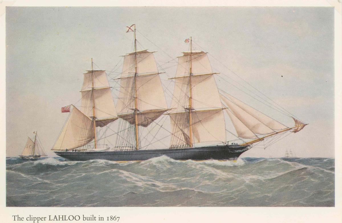 Lahloo Teklipper, byggd 1862. Förliste utanför Sundaöarna den 30 juni 1878 under en resa Shanghai - London.