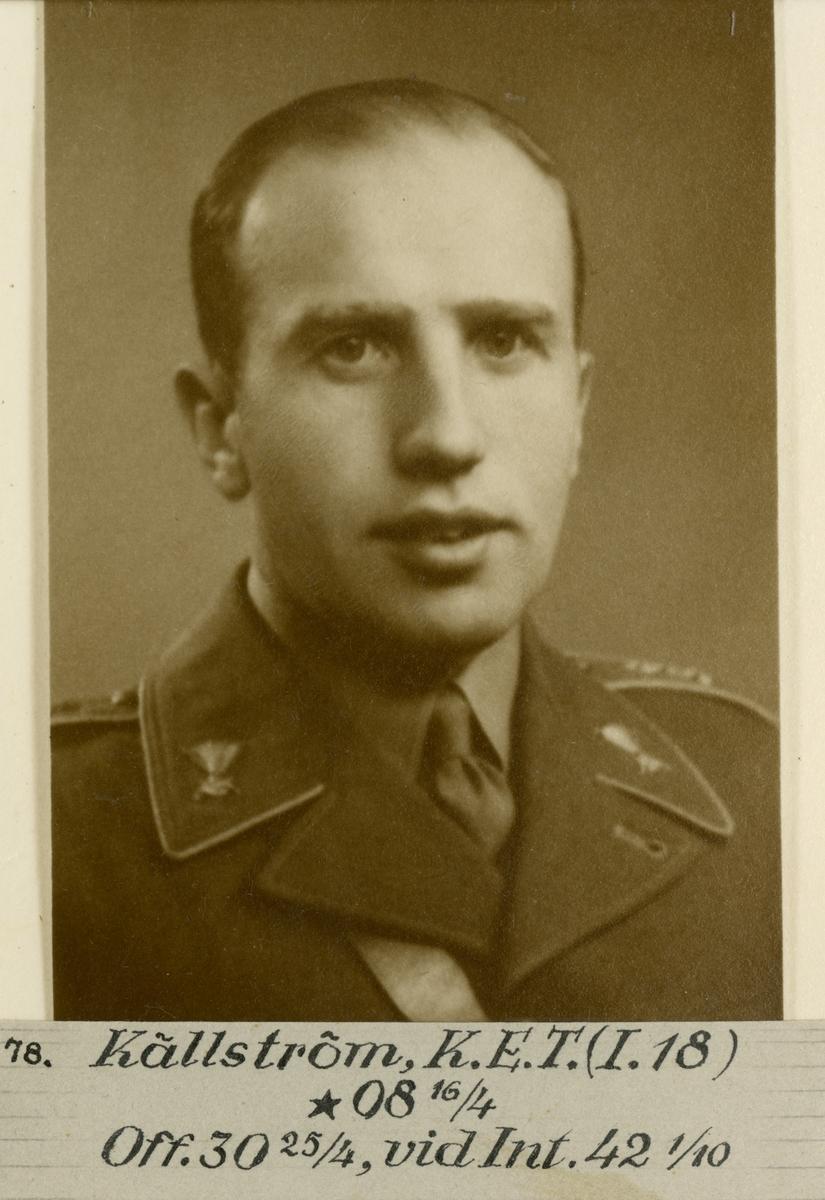 Porträtt av Karl Eric Thorsten Källström, officer vid Gotlands infanterikår I 18 och Intendenturkåren.