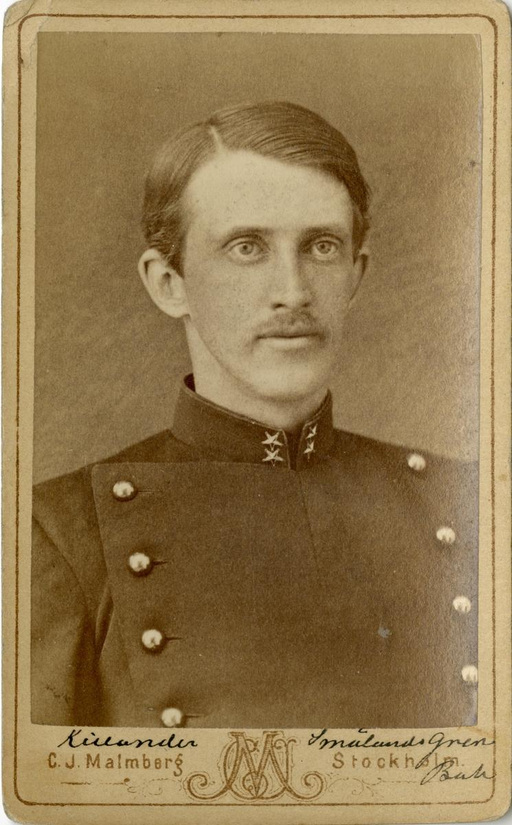 Porträtt av Victor Herman Killander, löjtnant vid Smålands grenadjärbataljon I 7.   Se även bild AMA.0002009, AMA.0007728, AMA.0009781 och AMA.0009172.
