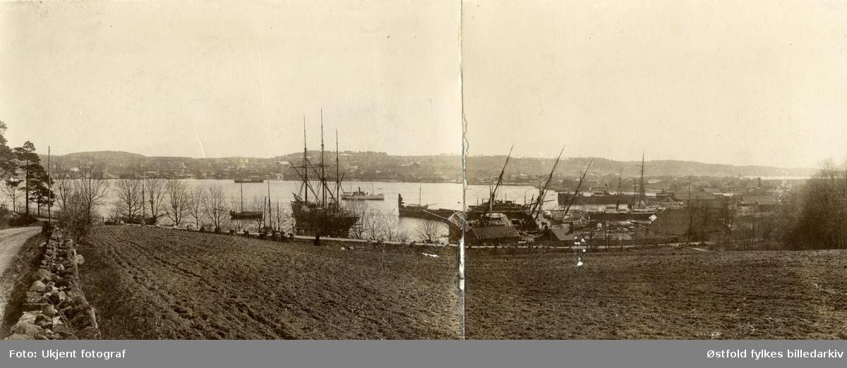 Skipsverft i Moss. Den gamle Krosserbakken. Moss Værft & Dokk i 1890-åra.