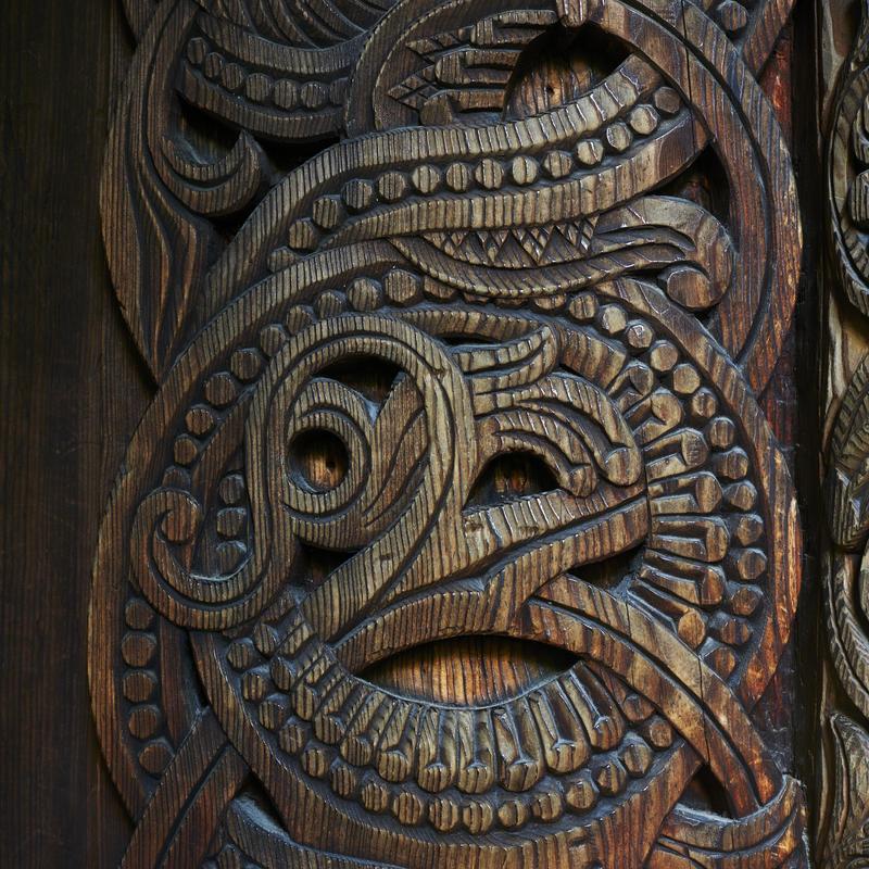 Detalj fra stavkirke på Norsk Folkemuseum