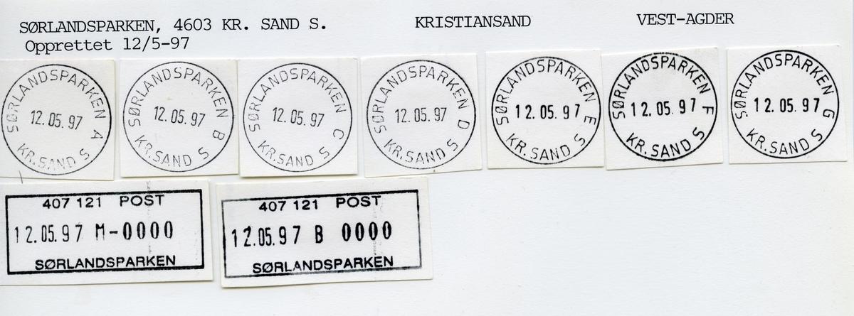 Stempelkatalog  Sørlandsparken, Kristiansand kommune, Vest-Agder