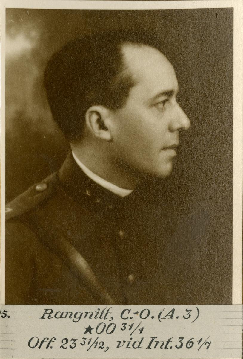 Porträtt av Carl-Oscar Rangnitt, officer vid Wendes artilleriregemente A 3 och Intendenturkåren.