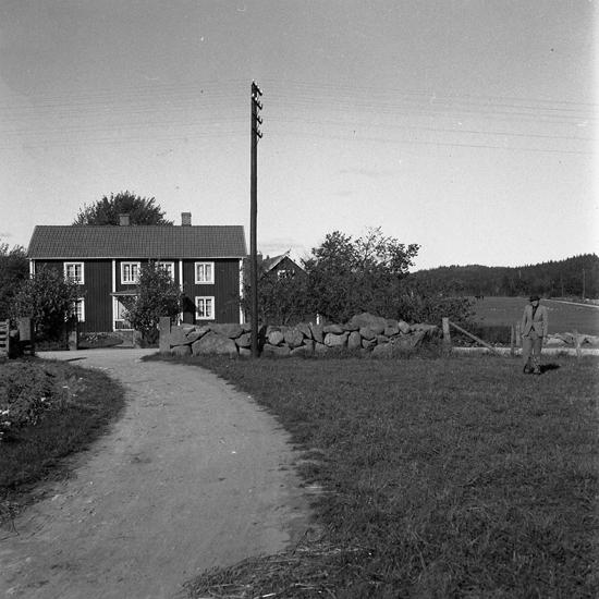 Foto av Ryds Östregård mot mangårdsbyggnad med två våningsplan, telefonstolpe och stenmur. Ryds Östregård, Moheda.