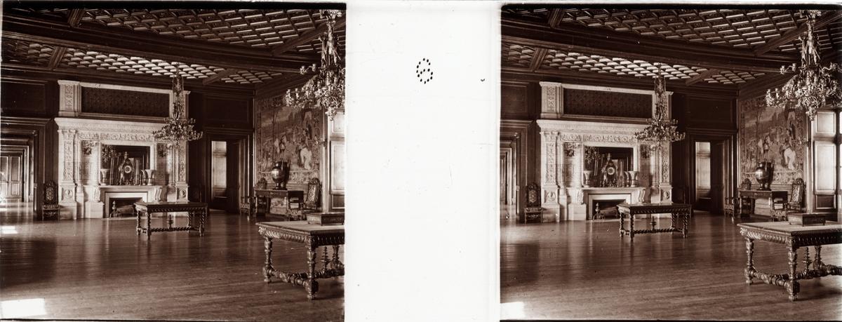 "Stereobild  av stora mottagningssalen i Chateau de Pau. ""Grand Salon de réception""."