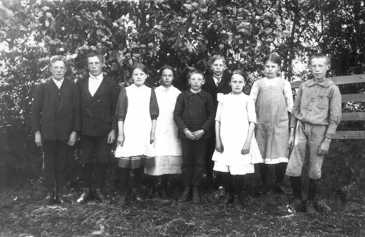 Från vänster: Petrus Nilsson, Elis Olsson, Ebba Wikström, Gunborg Swanström, Helge Sjöberg, Melker Gustafsson, Anna Styf, Karin Jonsson samt Evert Svedlund.