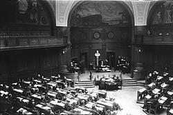 Stockholm, första kammaren i riksdagshuset.