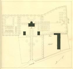 Uppmätning av trädgård och boningshus i Rosenfors.