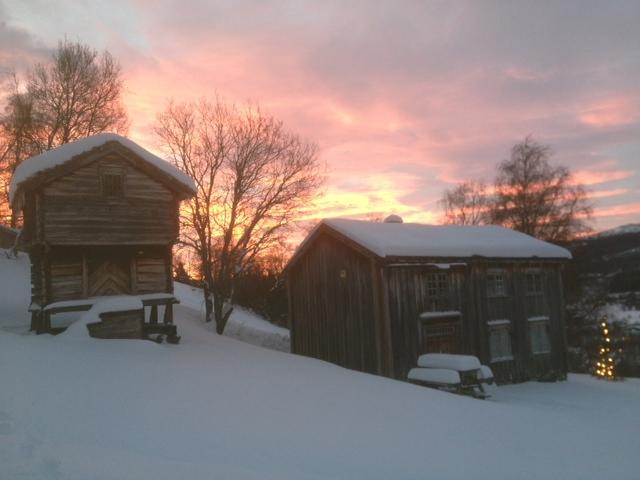 Størenstuggu og Å- buret i morgenlys med juletre