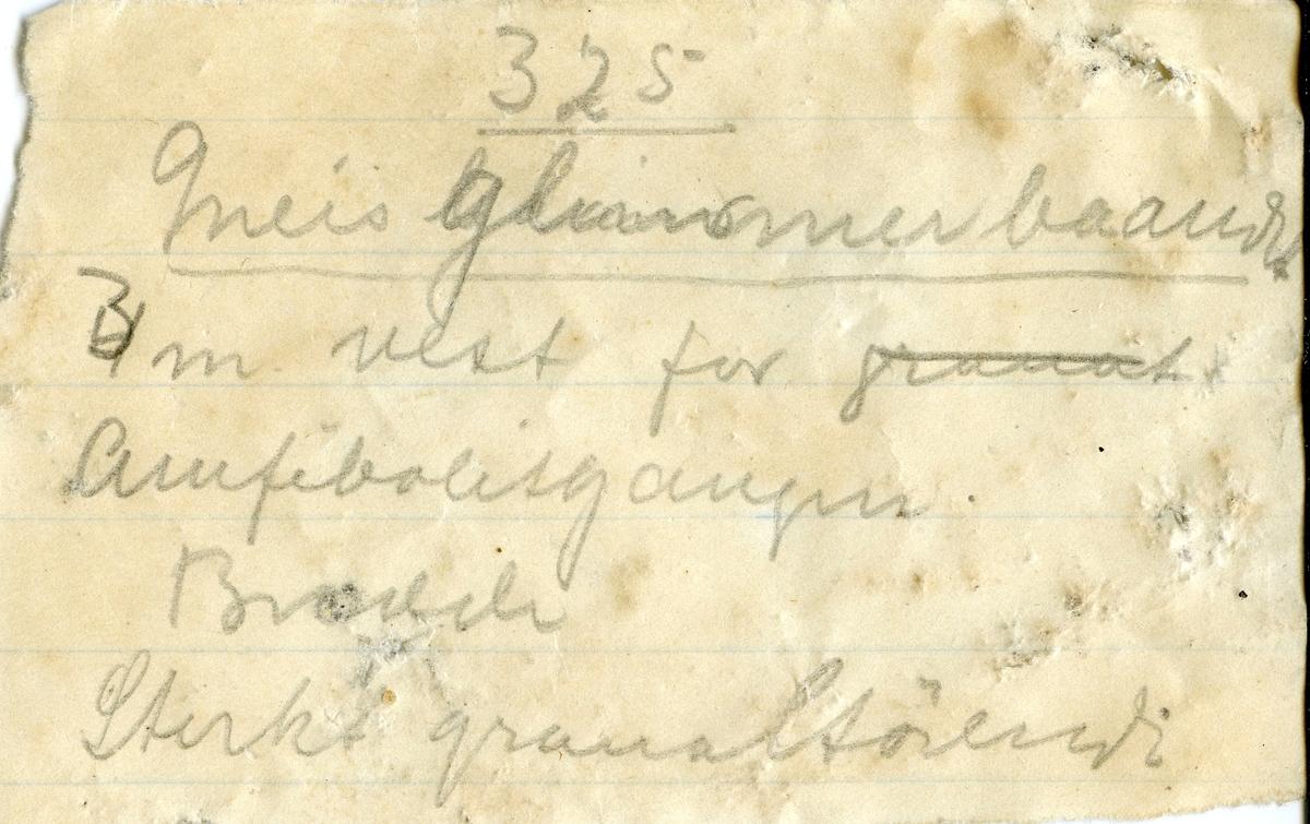 Etikett i eske: Glimmergneis m. granater «det milde baand» 3 m. V. f. Amfibolitgangen. 325 m. dyb.  Samuels grube. M. Johnson 1912. marts.  + papirlapp