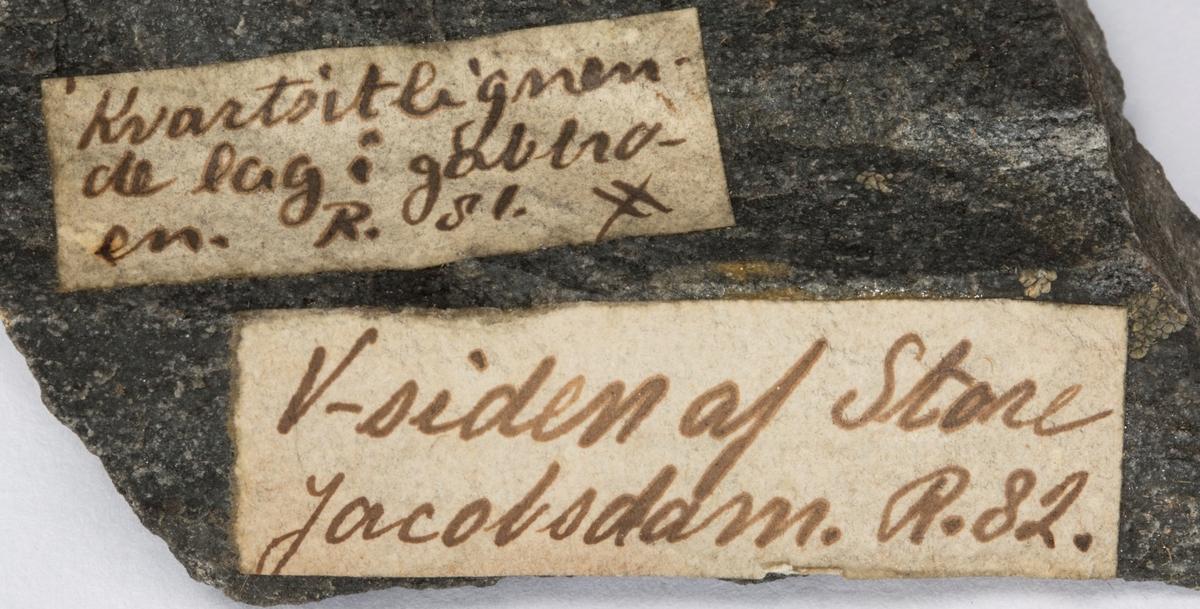 To etiketter på prøve:  1: Kvartsitlignende lag i gabbroen. R. ??  2: V-siden af Store Jacobsdam. R. 82.