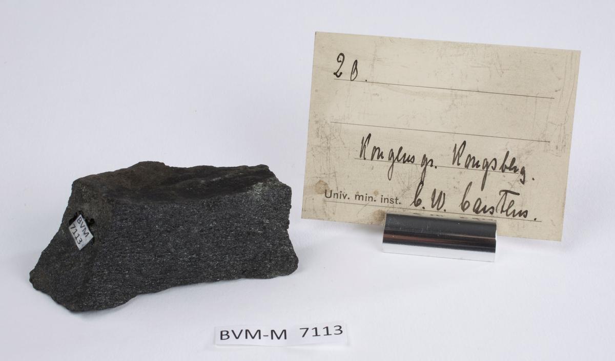 Etikett i eske: 20.  Kongens gr. Kongsberg C.W. Carstens