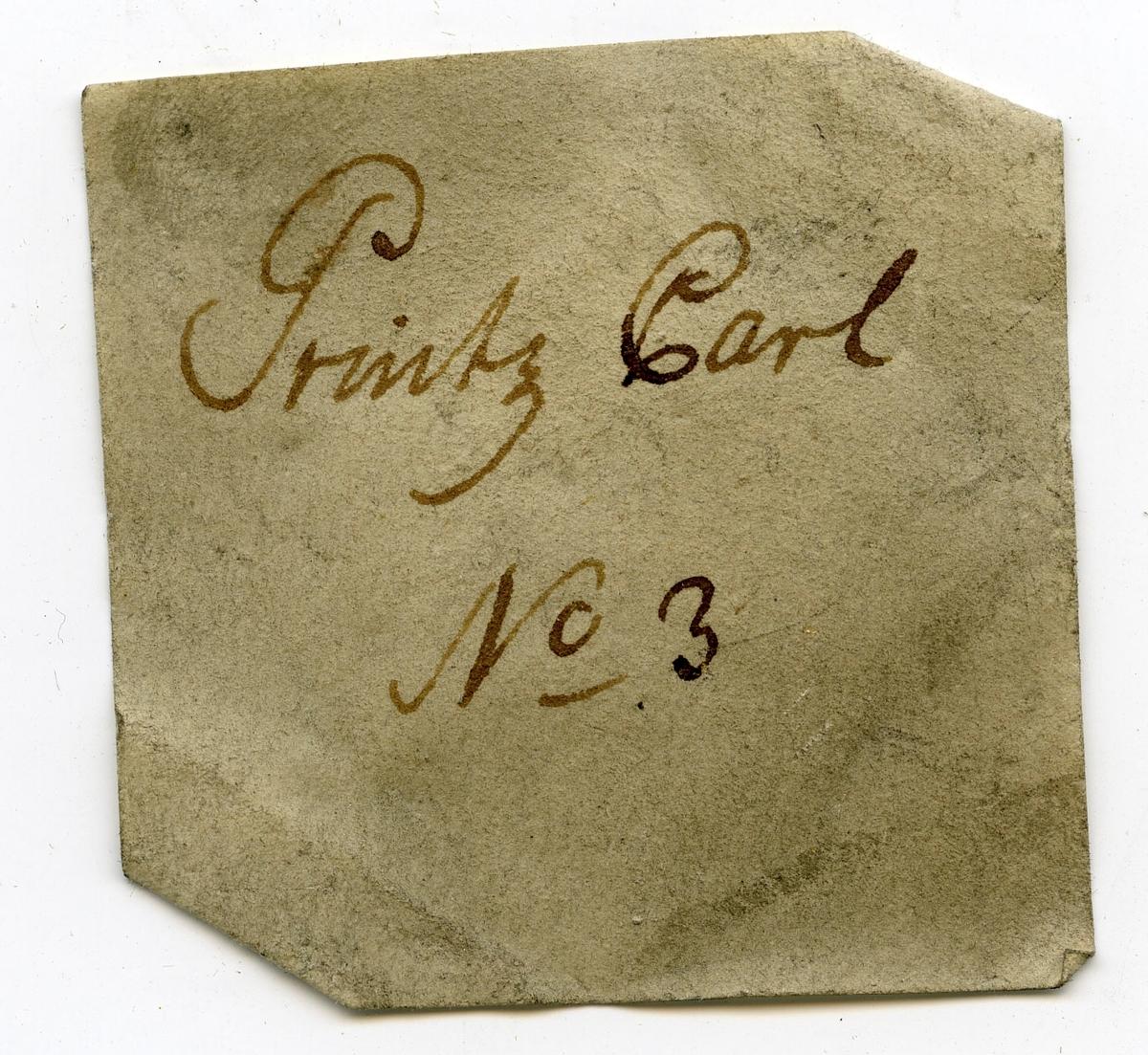Etikett på prøve: Printz Carl 3.  Etikett i eske: Printz Carl  No. 3