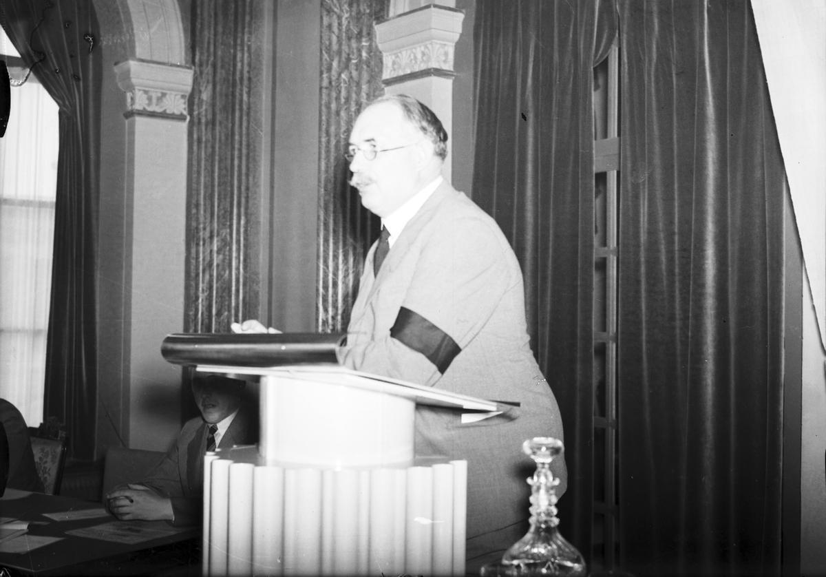 Bondeförbund. Årsstämma. Bondeförbundets ordförande Axel Pehrsson-Bramstorpet . Juni 1939