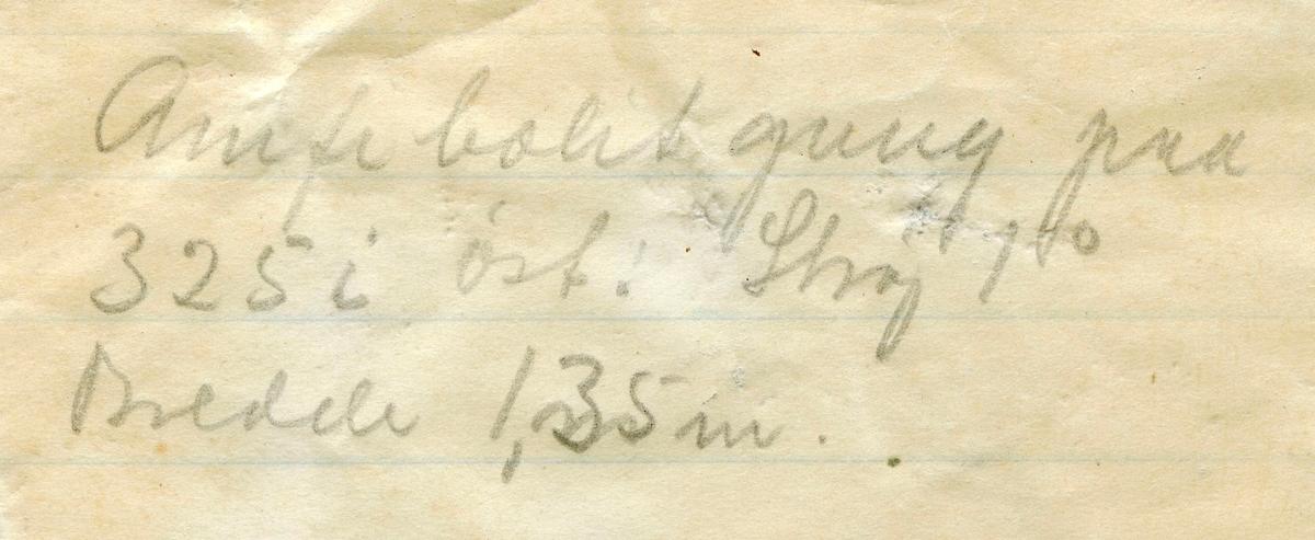Tekst på etikett i eske:  Amfibol rik zone m. granater i gneisen. 1,35 m mægtig. 325 m. dyb i øst. Samuels grube, Kongsberg. M. Johnson, marts 1912.  + papirlapp