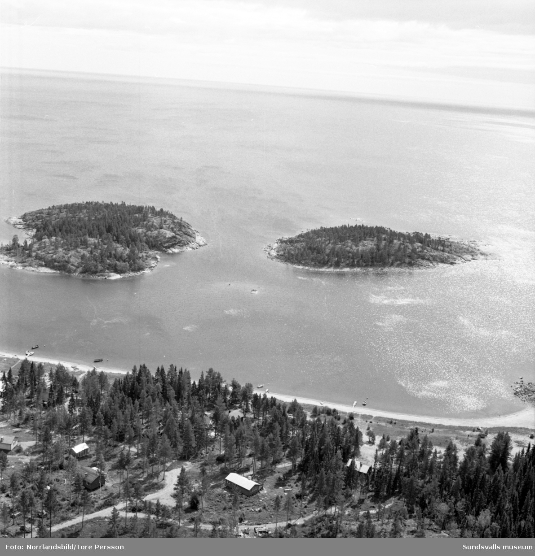 Flygfoton över kusten vid Bondhamn och Storsand norr om Tynderö.