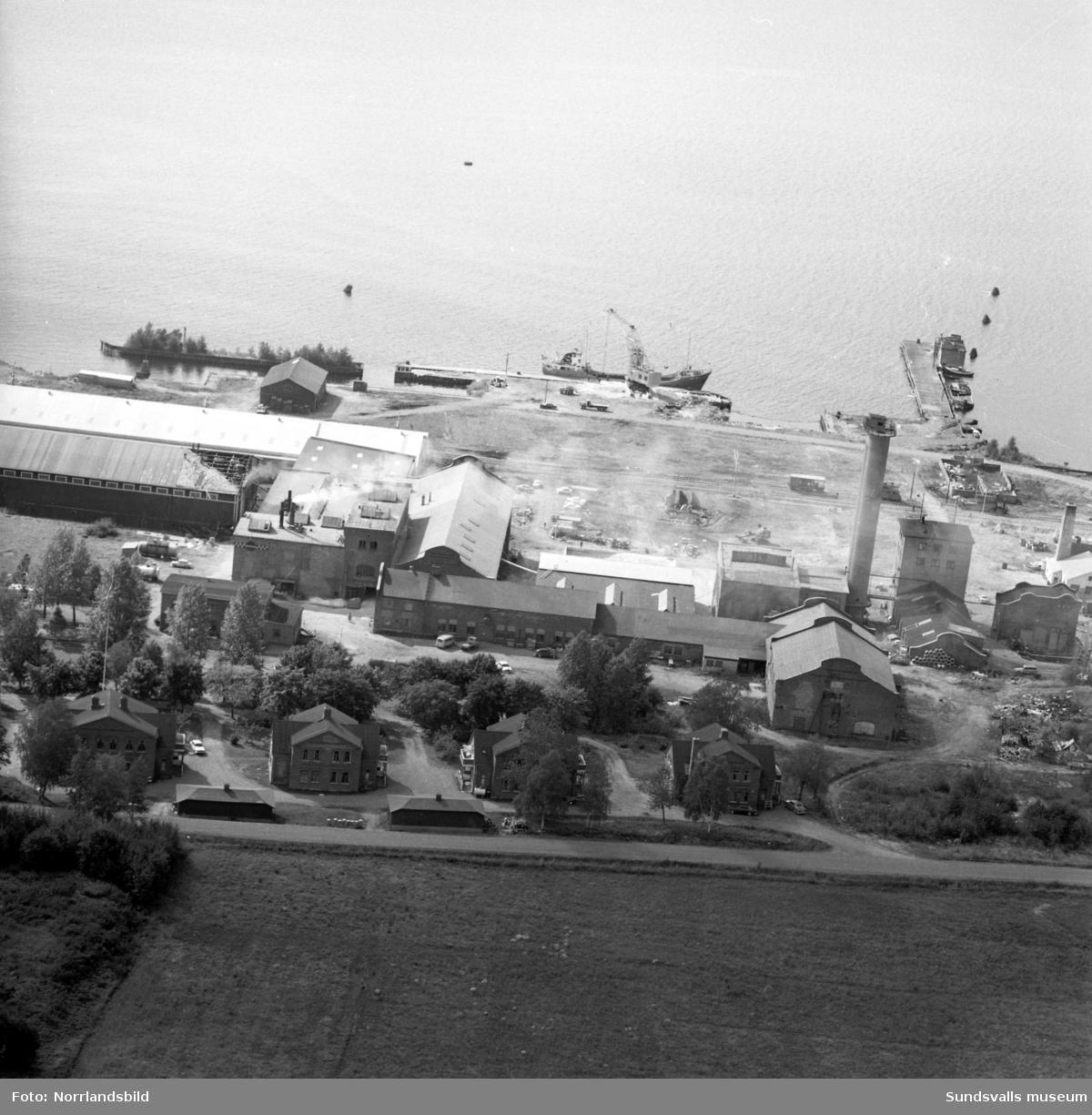 Flygfoton över Söråker med industribyggnader och arbetarbostäder.