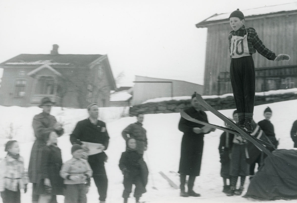 Young boys' ski jumping competition at Kongsberg
