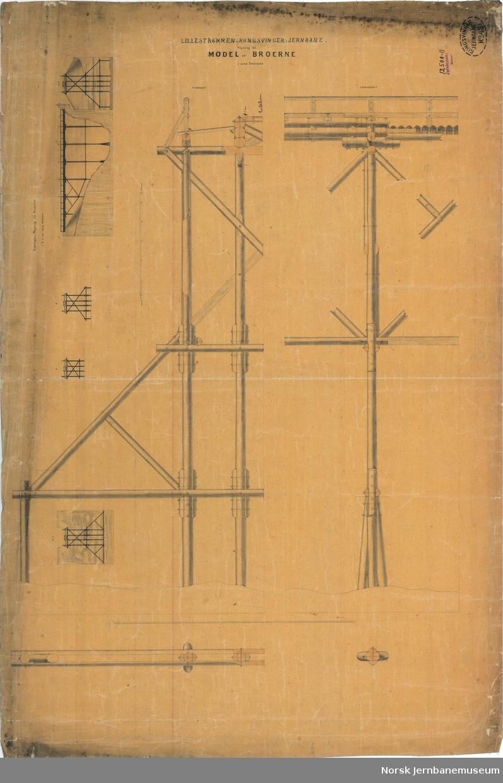 Lillestrømmen-Kongsvinger Jernbane. Tegning til Model af broerne.