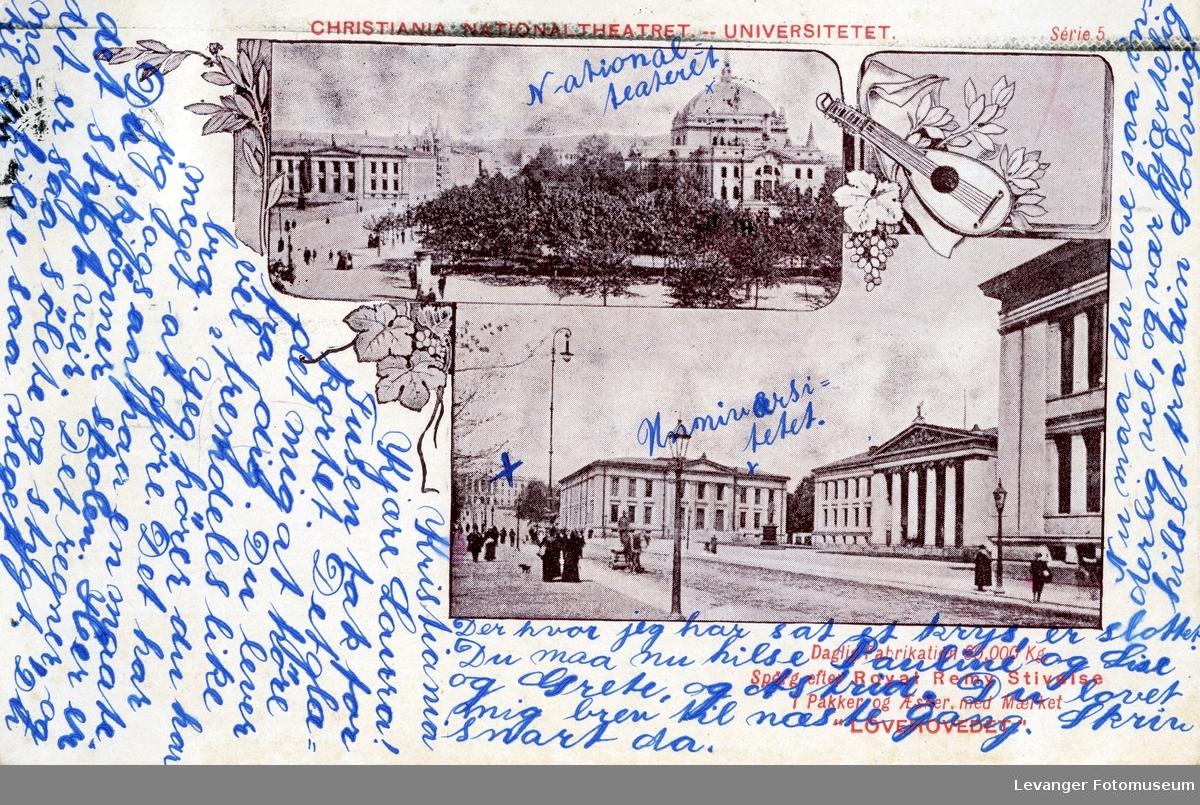 Postkort med motiv fra Christiania Theater og Universitetet i Oslo.