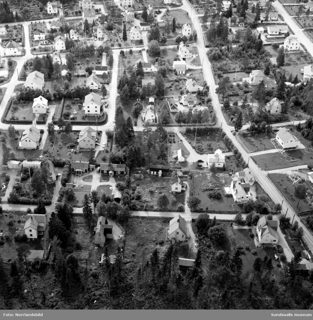 Två flygfoton över några villakvarter väster om Hagavägen, ungefär avgränsat av Sofiavägen, Sanatorievägen och Linneagatan. Första bilden är tagen västerut från Hagavägen och andra bilden söderut från Linneagatan.