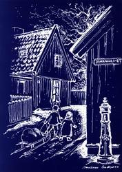 Postkort.  Julemotiv fra Enerhaugen. Gamlebyen, NF.