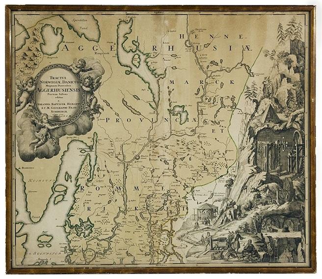 Gammelt kart over Oslo/Akershusområdet. Håndkolorert trykk, glass og brun treramme.